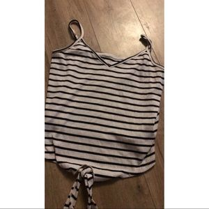 Stripped tank top with tie in the front
